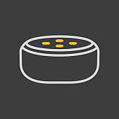 Small smart speaker with voice recognition icon