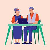 Senior Couple Using Laptop. Education Concept. Vector Illustration Flat Cartoon.