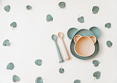 Bowl and plate for baby food, First Baby feeding time, neutral colors