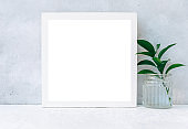 Blank mockup, copy space and plants, poster and invitation with empty on desk, card decoration your design or branding, simplicity and minimal, nobody.