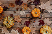 Autumn composition with dried leaves, pumpkins on wooden background. Autumn, fall, halloween, thanksgiving day concept. Flat lay, top view, copy space. Autumn still life