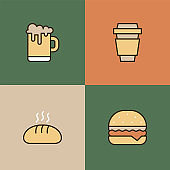Food And Drink Multi Color Icons