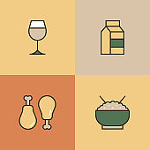 Food And Drinks Multi Color Icons