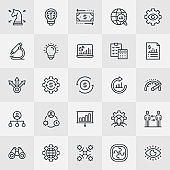 Business Strategy Thin Line Icons