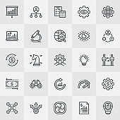 Business Management Thin Line Icons