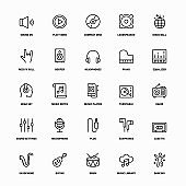 Outline Icon Set of Audio And Music