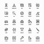 Outline Icon Set of Adventure And Camping