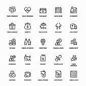 Outline Icon Set of Employee Benefits