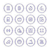 Fitness and Healthy Lifestyle Thin Line Icons