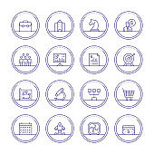 Corporate Business Thin Line Icons