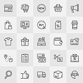 Sale And Shopping Thin Line Icons