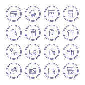 Shopping And Retail Thin Line Icons