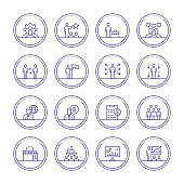 Human Resources Management Thin Line Icons