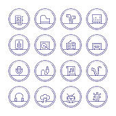 Music And Audio Thin Line Icons