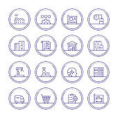 Production Management Thin Line Icons