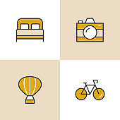 Travel And Vacation Multi Color Icons