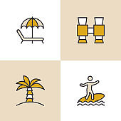 Vacation And Beach Holiday Multi Color Icons