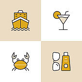 Vacation And Holiday Multi Color Icons