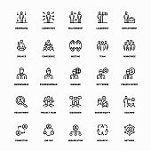 Outline Icon Set of Workforce Management