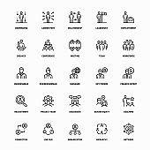 Outline Icon Set of Workforce Management