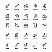 Outline Icon Set of Repair And Work Tools