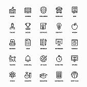 Outline Icon Set of University Education