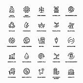 Outline Icon Set of Sustainable Ecology