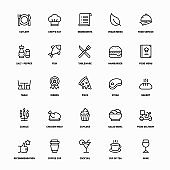Outline Icon Set of Restaurant