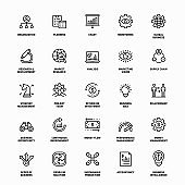 Outline Icon Set of Business Strategy