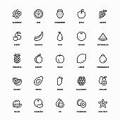 Outline Icon Set of Organic Fruits