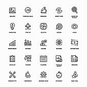 Outline Icon Set of Business Analysis