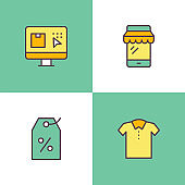 Online Shopping Multi Color Icons