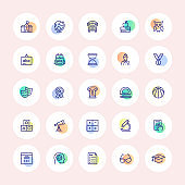 SCHOOL EDUCATION THIN LINE ICONS