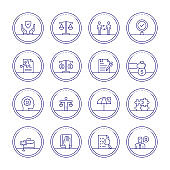 Business Ethics Thin Line Icons