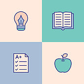 Knowledge And Wisdom Multi Color Icons