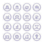 Party And Celebration Thin Line Icons
