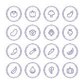 Vegetable Thin Line Icons