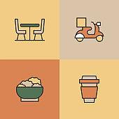 Restaurant Multi Color Icons
