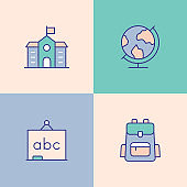 School Education Multi Color Icons