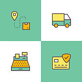 Shopping And Retail Multi Color Icons