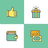 Shopping Multi Color Icons