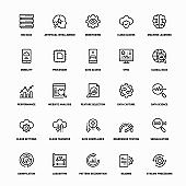 Outline Icon Set of Big Data