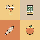 Snacks Multi Color Icons