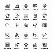 Outline Icon Set of Marketing And Advertising