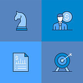 Business Strategy Multi Color Icons
