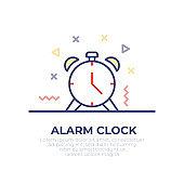 Alarm Clock Outline Icon Design