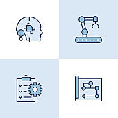 Industry 4.0 Multi Color Icons