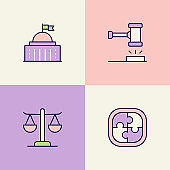 Legal System Multi Color Icons