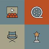 Movie Premiere Multi Color Icons