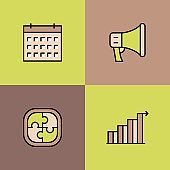 Business Management Multi Color Icons